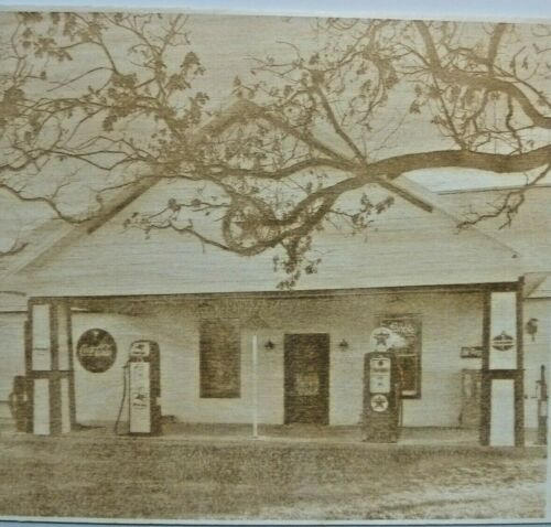 Old+Gas+Station+Scene+Wood+Engraved+Plaque%2CWall+Art+%2CWall+Hanging%2CDisplay