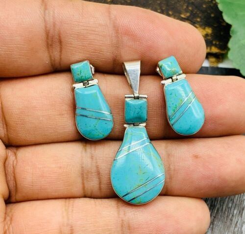 TAXCO Turquoise Earrings & Pendant set 950 Sterling Silver Mexico Jewelry