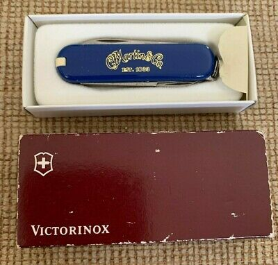 Vintage New Blue Victorinox Swiss Army Knife with CF Martin Guitar Logo w/Case