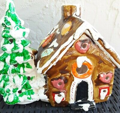 VINTANGE Enesco Gingerbread House Ceramic Christmas Candy / Tree Light up Candle