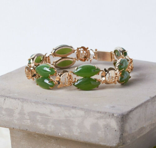 """Vintage Green Nephrite Chinese Panel 7"""" Gold Tone Double Row Ornate Bracelet"""