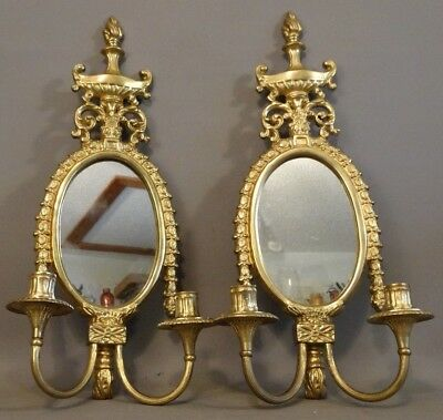 Pair (2) Vintage FRENCH LOUIS XVI Style BRASS Oval MIRROR Old CANDLE Wall SCONCE