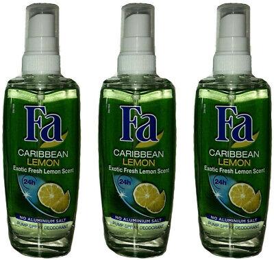 Fa Deodorant Spray (3x Fa Caribbean Lemon Pump Spray Deodorant,24H schutz  0% Aluminium ,75 ml NEU)