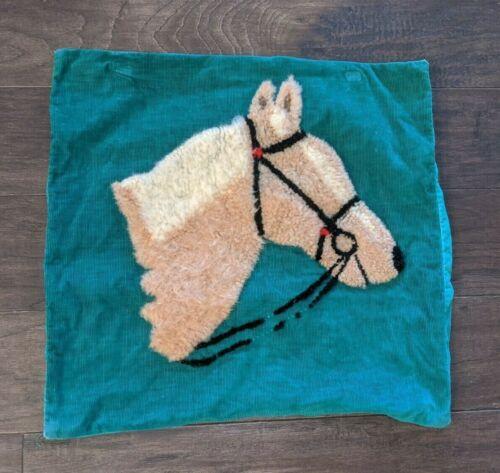 Vintage Wool Punch Stumpwork HORSE Chenille Throw Pillow Green Corduroy