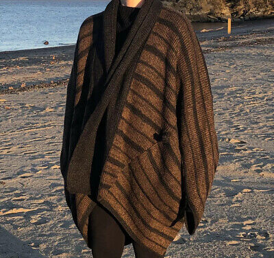 Issey Miyake vintage striped cocoon cardigan blanket oversized sweater coat
