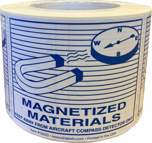 """Magnetic Materials Warning Labels For Aircraft Compass Detector   3.5 x 4.6"""""""