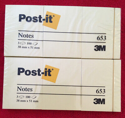 Lot Of 6 Post-it 3m Notes 1-12 X 2 In Canary Yellow6x100-sheets Total 600