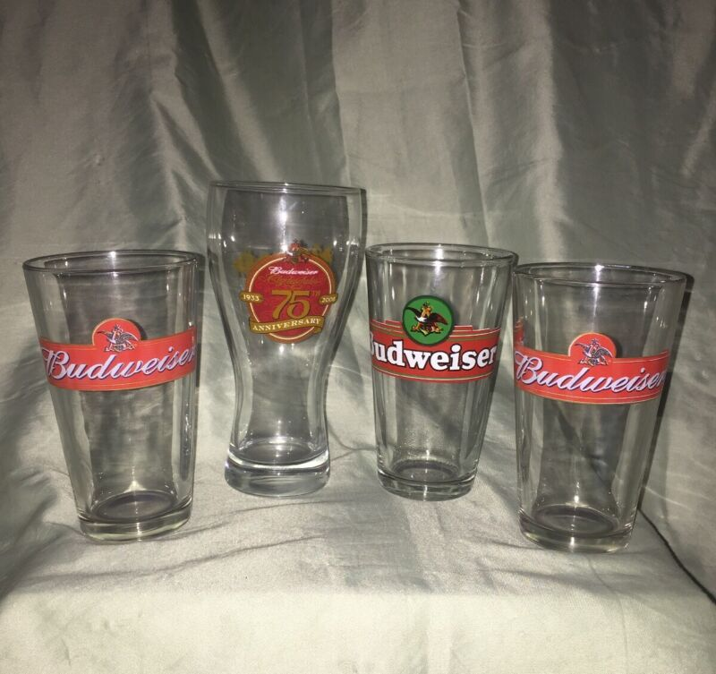 4 Budweiser Beer Glasses. 1-75th Anniversary Glass.