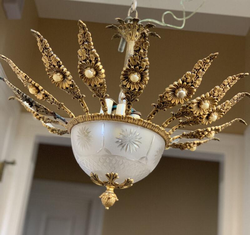 Antique Vintage French Glass Bowl Sunflower Sunburst Chandelier Semi Flush Brass