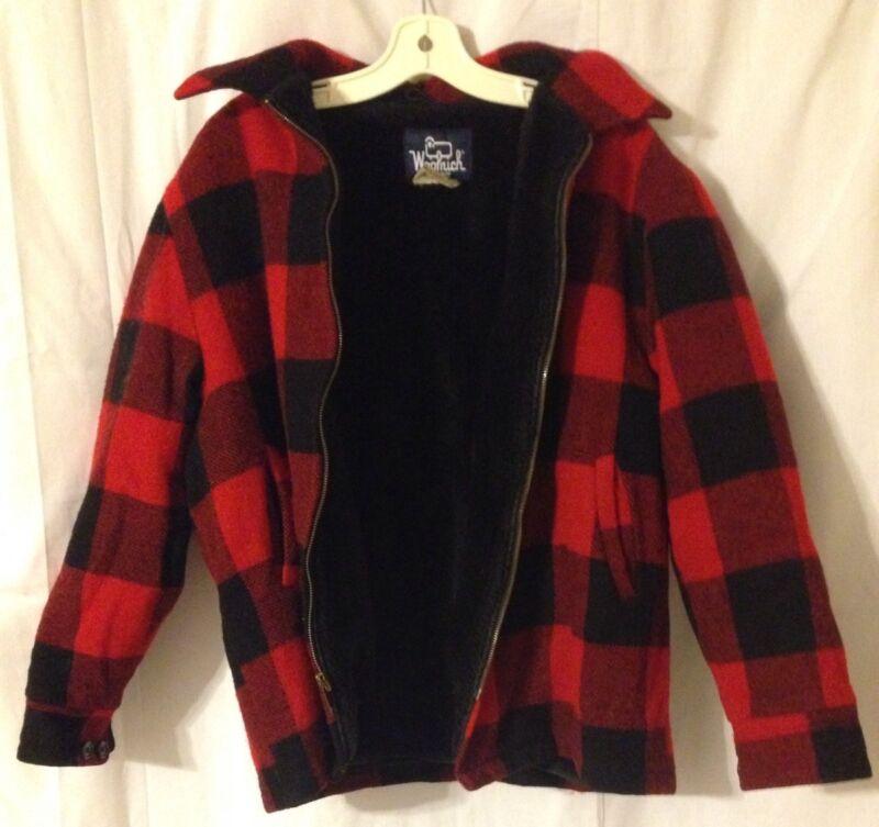 Vintage Woolrich Red Buffalo Plaid XL Full Zip Hunting Jacket, Fleece Lined