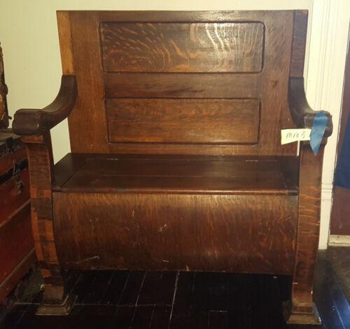 Antique Deacon  Monk  Storage Bench