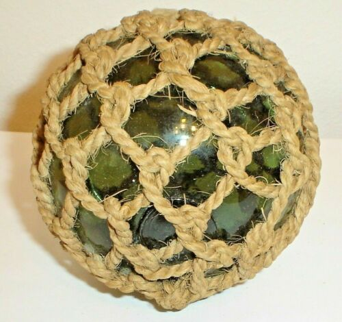 Old Antique Japanese Green Glass Roped Fishing Float Buoy Ball w/ Pontil Mark
