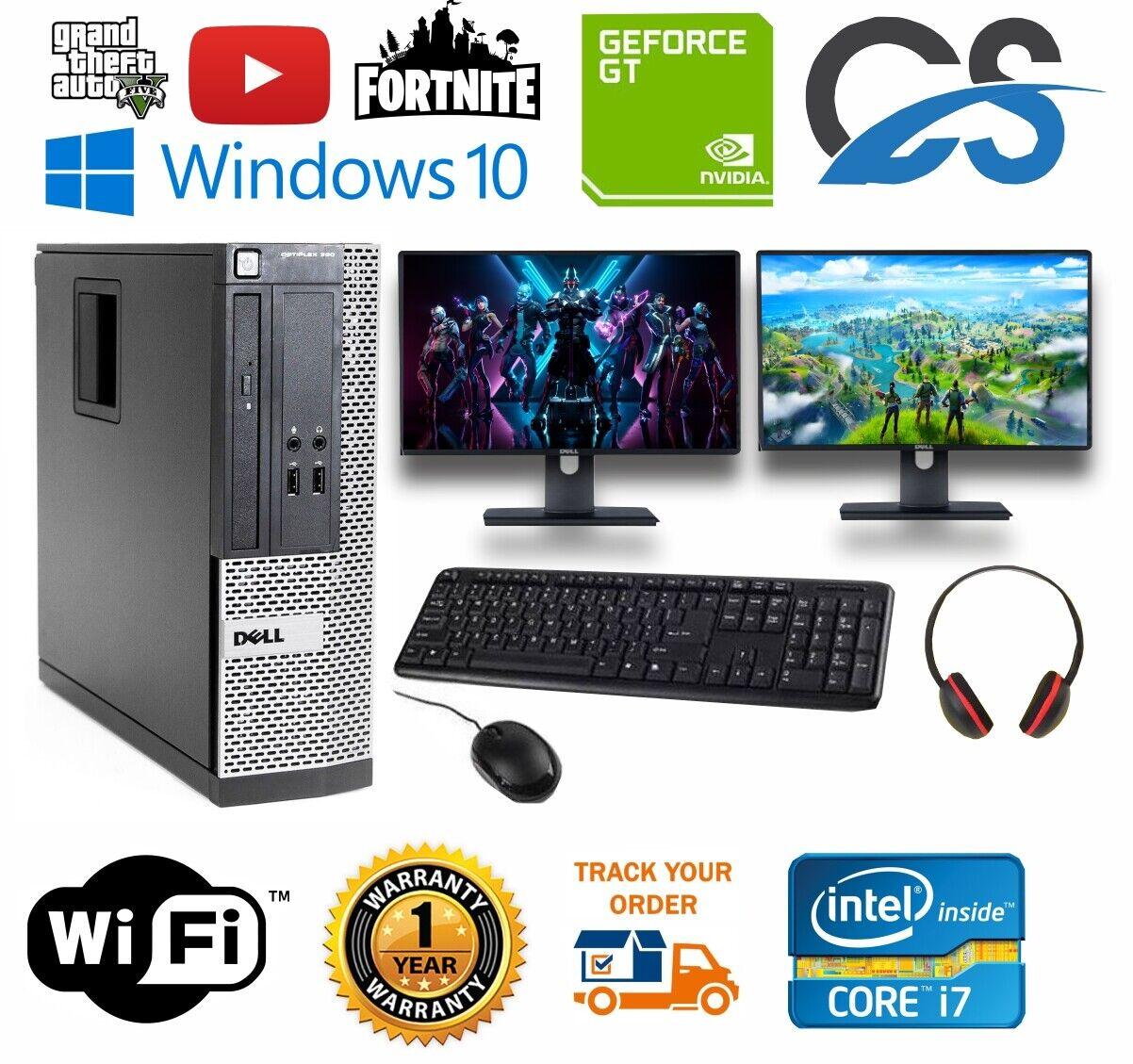 Computer Games - ULTRA FAST Dell Gaming PC Computer Desktop Bundle i7 8GB 1TB GT710 DUAL MONITORS