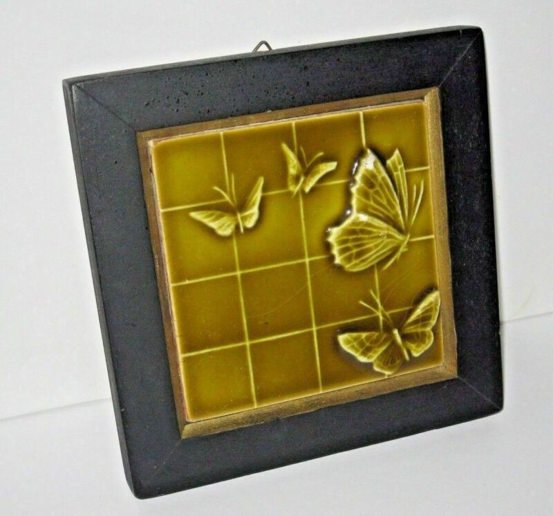 Framed U. S. Encaustic Tile Co. Art Pottery Butterfly Gold Glossy Tile Relief