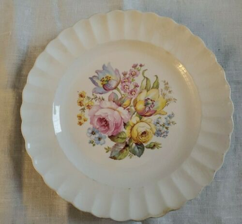 "Vintage 10"" Plate Corinthian Sebring  Egert Rose no line MCM 1950s"