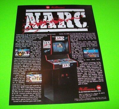 NARC Video Arcade Game Flyer WILLIAMS Original NOS Double Sided Artwork 1988
