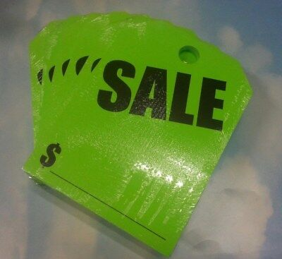 +Free Shipping CAR DEALER LOT 300 HANGING REAR VIEW MIRROR TAGS CARDS SALE Green