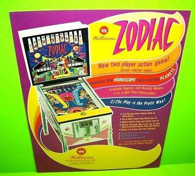 Williams ZODIAC Original 1971 Flipper Game Pinball Machine Promo Sales Flyer