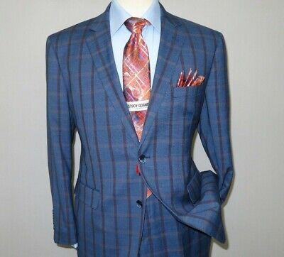 Mens Suit by RENOIR English Plaid Window Pane European Business 291-19 Blue Rust](Mens Blue Suit)