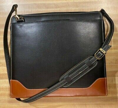 Franklin Quest Leather Zip Binder Briefcase Handles And Crossbody Strap