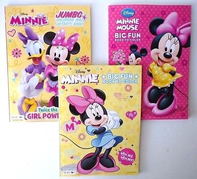 Lot of 3 MINNIE MOUSE Disney Coloring and Activity Books, for Girls, - Minnie Mouse Coloring