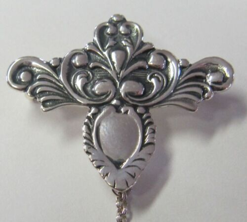 VERY LOVELY SCROLL DESIGN  STERLING SILVER CHATELAINE PIN - NEW