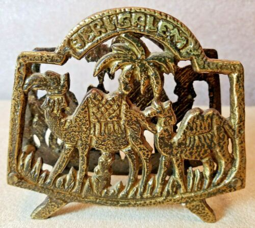 MCM Vintage Brass Camel Palm Trees Napkin Holder Made in Jerusalem