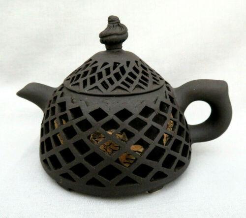 Chinese Hand Made Yixing Zisha Purple Clay Open Lattice Work Teapot ~ Signed