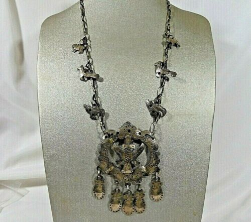 VTG GUATEMALAN CHACHAL CHARM TRIBAL NICKEL SILVER LONG LARGE HANDMADE NECKLACE