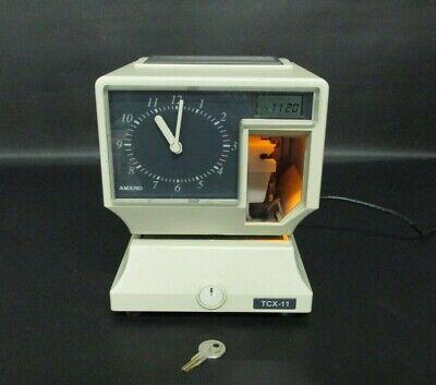 Amano Time Clock Recorder Tcx-11 Electronic Analog With Key Works Properly