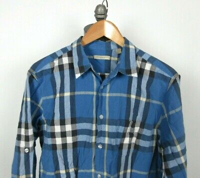 BURBERRY BRIT Sz XL Shirt Linen Cotton Blue Check Roll Tab Sleeve