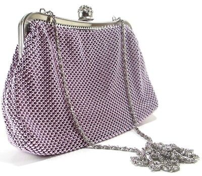 - Women's evening clutch Metal Beaded mesh bag for Party Prom Wedding Banquet