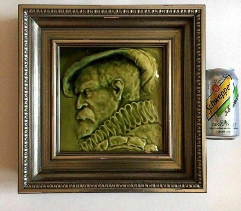 Large J. & J.G. Low Framed Art Pottery Green Portrait Tile Of Gentleman 1882