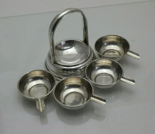Art Deco Solid Silver Stacking Ashtrays Ash Tray with Holder (1680/9/VNN)