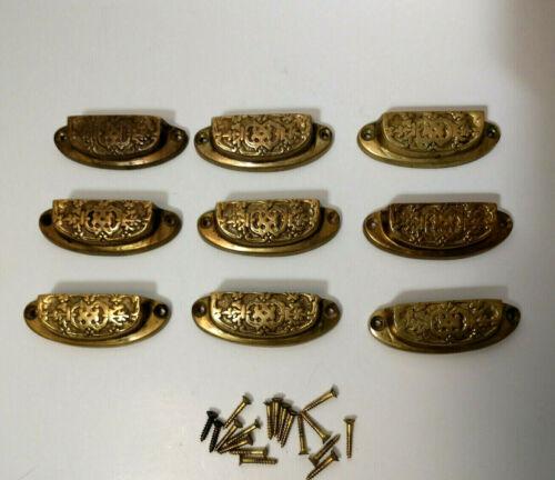 Vintage lot of 9 brass drawer pulls cups ornate design