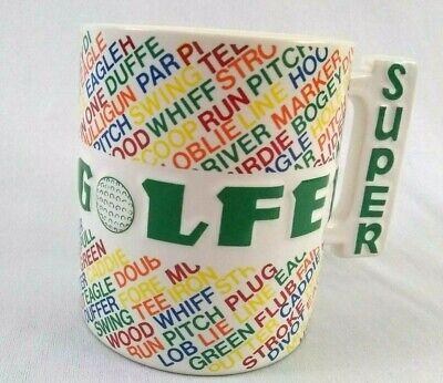 Vintage Shafford Super Mug Super Golfer Mug Coffee Cup Colorful Handle 1984 Golf