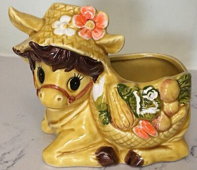 Relpo Donkey Planter Vintage Mid Century Japan 6431 Yellow Floral  Gift