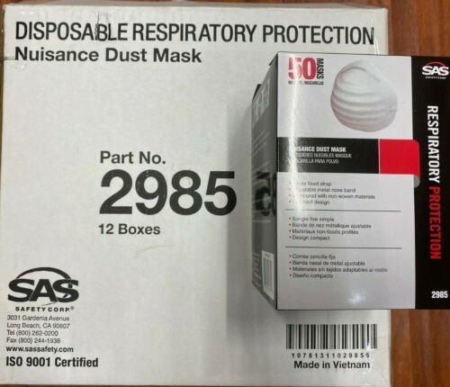 12 X SAS 2985 Box of 50pc Disposable Nuisance Dust Protection Safety Respirater