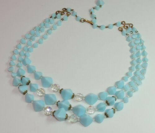 Vintage West Germany Powder Blue Glass Bead 3 strand Choker  Necklace Ch 38
