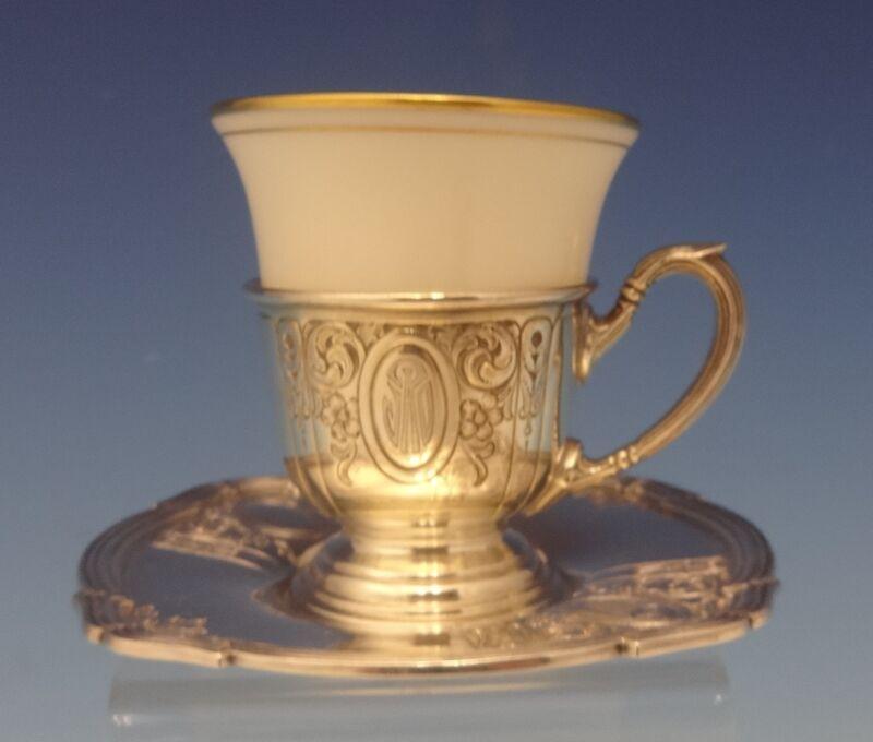 Saint Dunstan Chased by Gorham Sterling Demitasse Cup w/Saucer & Liner (#0611)