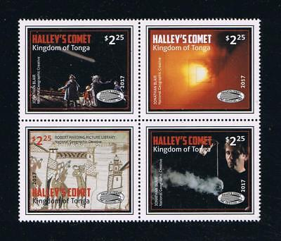 Tonga - 2017 Halley's Comet Postage Stamp Block of Four