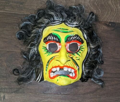 Vintage Halloween Costume Mask  Scary Face Monster Witch Zombie 1970