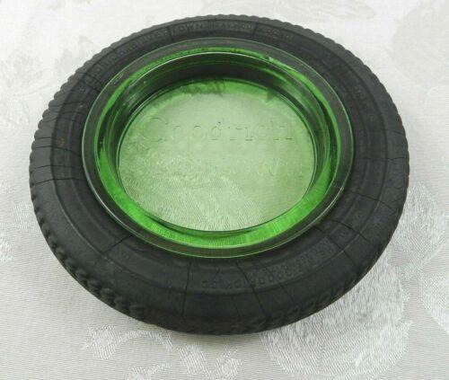 "Vtg BF Goodrich Silvertowns Tire Ashtray Green Depression Uranium Glass 6-1/4"""