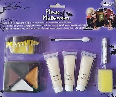 Halloween Schminke / Zombie, Hexe, Vampirzähne / Make Up Set 7 Teilig