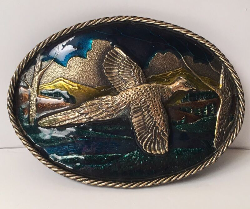 Belt Buckle Pheasant Great American Chicago Co Made Enamelled  #H473 Very Heavy