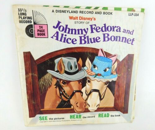Disney Vintage Record and Book:Johnny Fedora and Alice Blue Bonnet (1970) #354