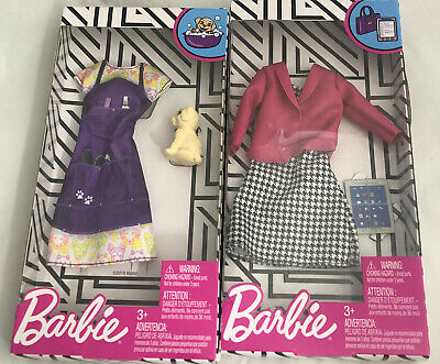 Lot of 2-new in Box barbie Fashionista Career Dress Dog Groomer Puppy New H2