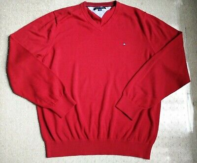 Tommy Hilfiger Men's Red V-neck Cotton Sweater Size XL/TG/XG