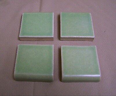 1 Vintage TILE BULLNOSE NOS Pale Green Crackle Finish Glazed Ceramic Wall Finish