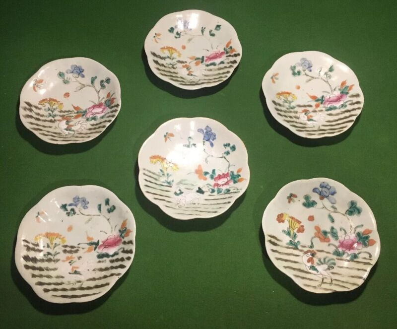 ANTIQUE UNIQUE PORCELAIN CHINESE ROOSTER PLATES LOT (6) 18th CENTURY